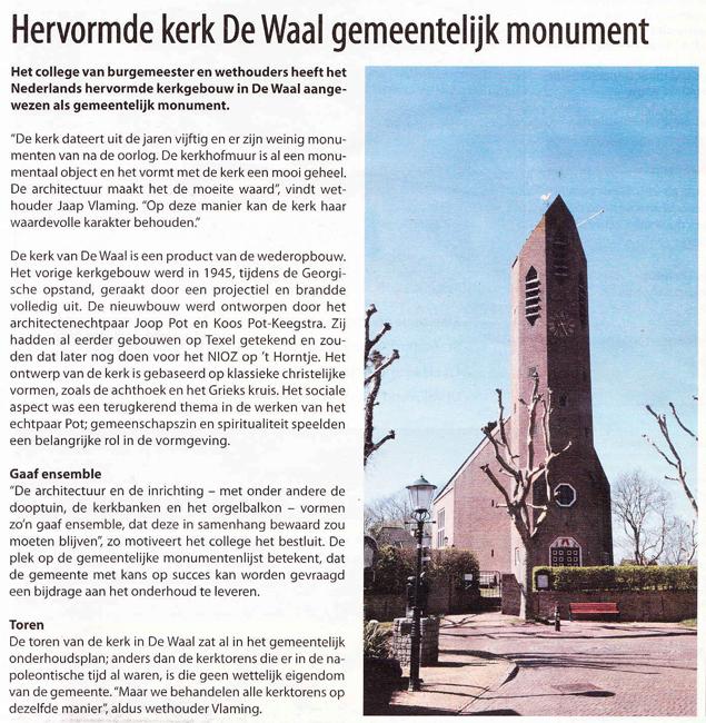 Hervormde kerk De Waal gemeentelijk monument