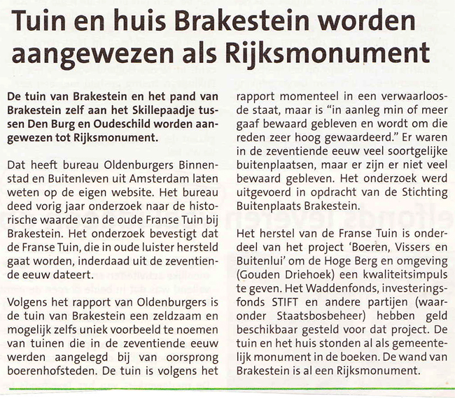 Tuin en huis Brakenstein worden aangewezen als Rijksmonument