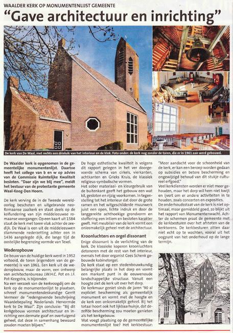 Waalder kerk op Monumentenlijst Gemeente